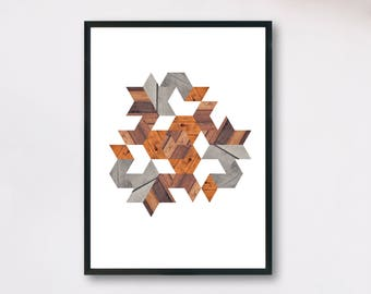 Triangular shape composed of geometric wooden shapes - downloadable digital print