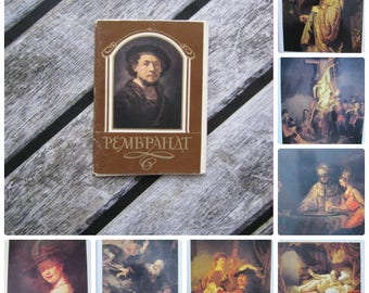 Set postcards Rembrandt painting print cards collectible postcard set vintage art postcard baroque art print painting postcards reproduction