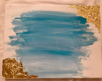 Blue ombre with gold leaf | 9 x 12
