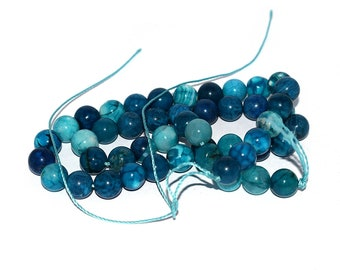 20, 50 or 100 natural pearls turquoise blue ombre agate 8 mm (gemstones semi stone) precious
