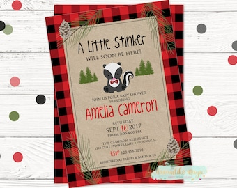 Little Stinker Invite, Baby Shower Invitation, Skunk Baby Shower, Woodland Shower, Buffalo Baby Shower, Printable Invite, DIY, Woodsy Shower