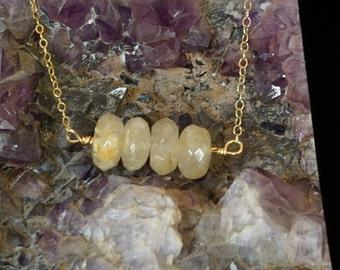 Rutilated Quartz & 14K Gold filled necklace