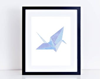 origami crane print fine art limited edition artwork - collage, art print, wall art, blue art, home decor, picture - security envelope crane