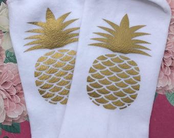 Multiple colors Lucky Pineapple socks - IVF, IVF socks, infertility, ttc socks, pineapple, lucky socks, lottie and co, iui socks, ttc socks