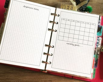 Undated Bullet Journal Calendar Planner Insert
