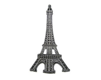 Eiffel Tower France Embroidered Applique Iron on Patch 5.8 cm. x 10 cm.