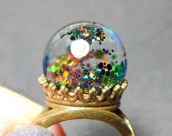 "Magic water globe ""Dark Magic"" adjustable ring witchy gipsy, moonchild, mermaid"
