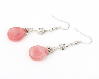 A Flower for your Valentine-Pink Cherry Quartz Glass Dangle Flower Earrings