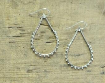 Grey Diamond Silver Teardrop Dangle Earrings