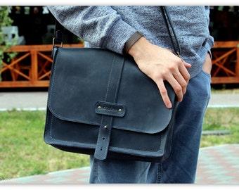 Leather Messenger bag / Horizontal laptop bag / Computer bag / Leather messenger bag men / Free Personalization