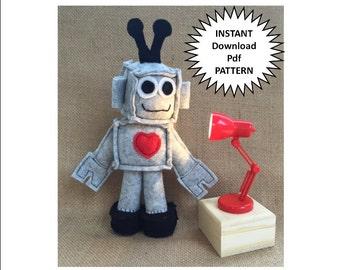 Sewing Patterns Toy Robot Felt Pattern Plush Toy Instant Download Robot Pattern Plushie Pdf Sewing Pattern DIY Craft Toy Pattern Tutorial