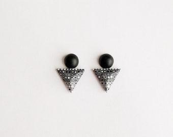 Geometric jewellery Triangle and Circle Earrings earrings Triangle earrings Black Stud earrings Modern earrings Contemporary jewelry