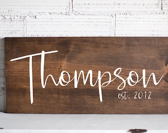 Wedding Gift Mothers Day Gift For Her | Last Name Sign | Family Name Wood Sign | Anniversary Custom Gift Wedding Established Wood Sign