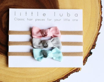 infant headband set, newborn headband set, knotted headbands, baby knot headband, bow headband set, baby bow. Baby Pink.Light Grey.Baby Blue