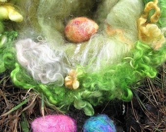 wool felted fairy nest of the enchanted forest -   surprise spring egg gatherings