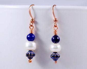 Cosmos Earrings, Lapis Lazuli, Freshwater Pearls, Copper Jewelry