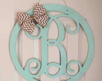 Circle Monogram Door Hanger - Spring Door Hanger - Wood Circle Door Monogram - Wood Monogram Hanger - Neutral Door Decoration