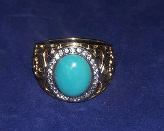 Vintage QVC Sterling Silver Vermeil Ross Simons Turquoise Ring size 8
