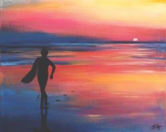 "An original painting, ""Surfer Boy"" by Sherri Hepler, acrylic on canvas"