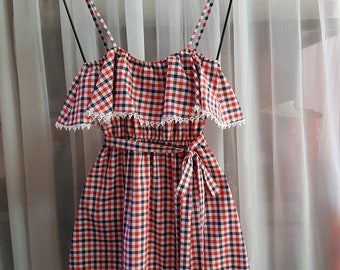 Red and Blue checked dress