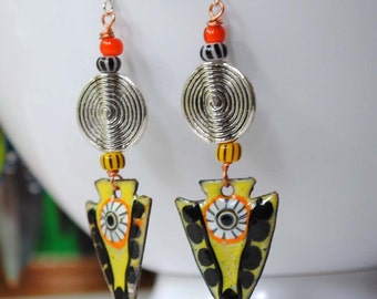 Ethnic Enamel Earrings, Artisan Enamel Jewelry, Yellow Arrowhead Earrings, Boho Chic Jewelry, Colorful Tribal Earrings