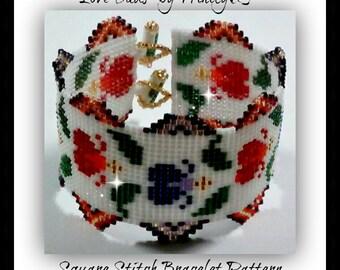 BP-SQUARE-022 2015-14 - Love Buds - Loom/Square & Brick Stitch Bracelet Pattern - One of a Kind - Fashion Statement - DIY Design