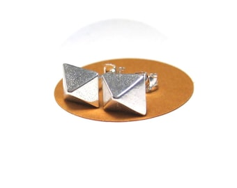 Sterling Silver Earrings Studs Pyramid Stud Earrings, Ready to Ship