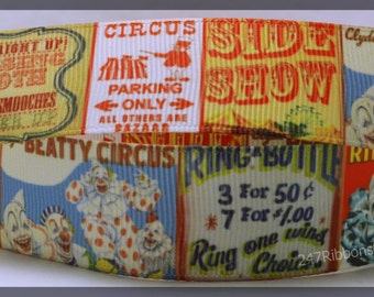 "Circus Act Show Animals Fun Traveling Inspired Printed Grosgrain Ribbon 1 "" CA010418"