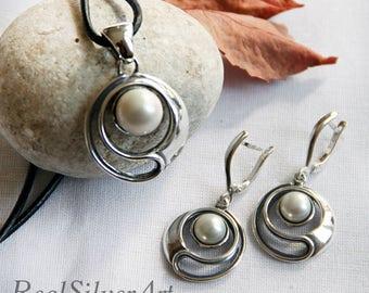 Silver jewelry set/ Pearl jewelry/ Silver earrings/ Silver pendant/ Bridal jewelry set/ Gentle spirit/ Circle earrings dangle/ Gift women
