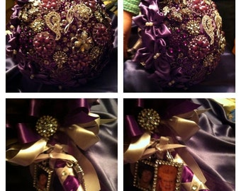 Custom Wedding Brooch Bouquet/ Weddings/proms/dance/ brides/ bridemaids/ flowergirls/maid of honor