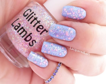 "Glitter Nail Polish | ""It's Snowing Cotton Candy"" Glitter Topper Nail Polish 