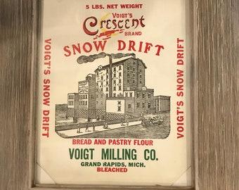 Vintage Voigt's Crescent Brand Snow Drift Bread and Pastry Flour Sack Framed/Vintage Voigt's Milling Company Flour Sack/Rustic Farmhouse