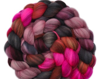 Hand dyed roving - Merino Humbug wool combed top spinning fiber - 4.1 ounces - Explosive Passion 2