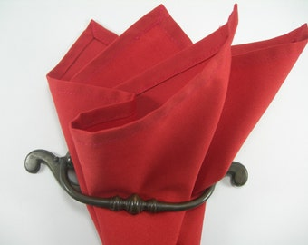 cotton pocket square coral red