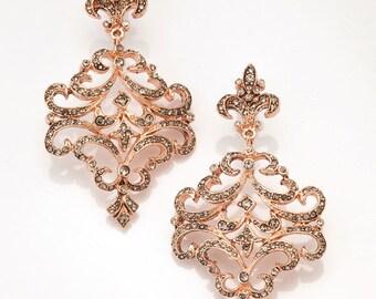 Rose Gold Chandelier Earrings, Fleur-de-Lis Design