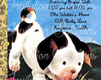 Poky Puppy Little Golden Book Baby Shower Invitation/ Puppy Themed Party Invite