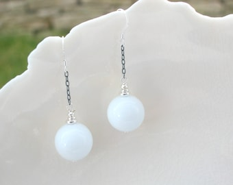 White Earrings In Murano Glass