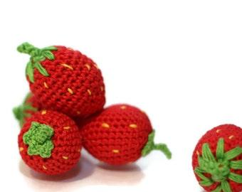 Crochet Strawberries (2pcs+) Pretend food Play Food Play Kitchen food Kids Toy Crochet Educational toy Kitchen decor Stuffed Montessori