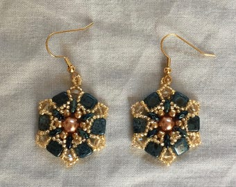 beaded earrings blue and gold beaded earrings blue picasso tile beads superduo beads gold coloured pearls gold seed beads