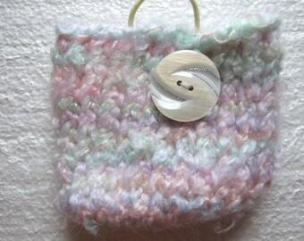 Light Pastel   Cotton candy explosions  Rainbow Mini  knit Bag