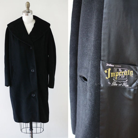 1960s black cocktail coat //black cashmere coat // vintage coat