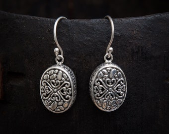 Silver Earrings, Silver Drops, Filigree Earrings, Pretty Earrings, Oval Earrings, Silver Filigree, Sterling Silver, 925