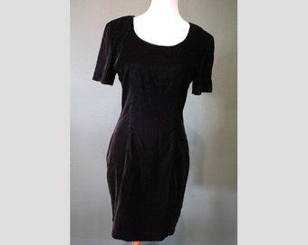90s Black Crushed Velvet My Michelle Mini Dress 1990s Short Sleeve Dress