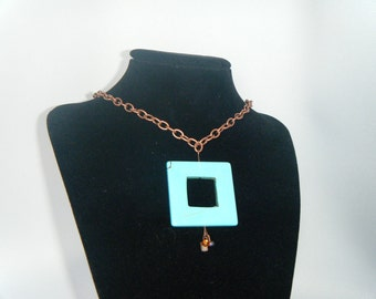 Large Square Turquoise Glass Bead Necklace