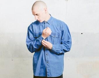 Denim 90s Shirt . Vintage Long Sleeve Blue Oversized Shirt Mens Casual 90s Jeans Shirt Normcore Mens Denim Wear . size Extra Large XL