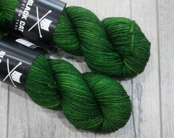 DK weight merino yarn 100% Superwash Merino Sweater weight yarn. Double Knit Weight yarn. Cthulu. Semi-Solid green yarn. Tonal green yarn