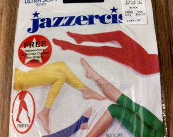 Vintage jazzercise black tights size C 5'5 to 5'11 125 to 155 lbs