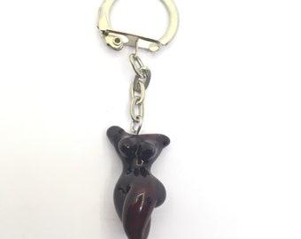 Goddess lampwork key ring/ Key ring
