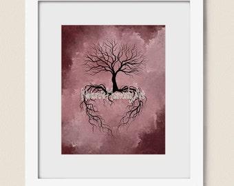 Bare Winter Tree 8 x 10 Print, Pink, Burgandy Wall Art, Heart, Nature Print, Silhouette (22)
