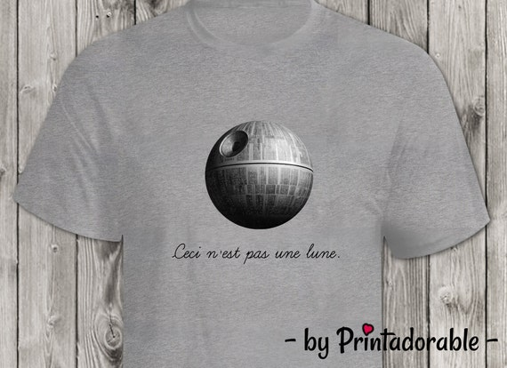 Ceci N'est Pas Une Lune - Funny Star Wars Tshirt Image or Painting - Digital Art - Rene Magritte Parody - Instant Download